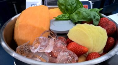 fruits in a food processor