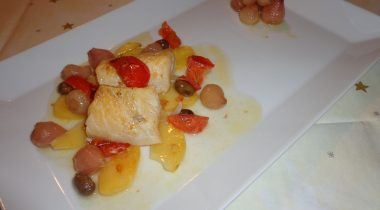"Baked Codfish with potatoes and ""lampascioni"""