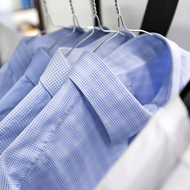 Hung shirts finished with finishing equipment