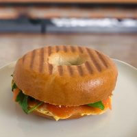 Pumpkin-cream cheese and cold smoked salmon bagel