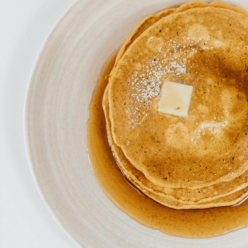 Pumpkin Pancakes on beige plate