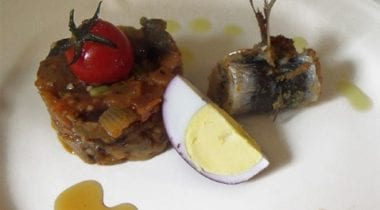 "Baronial Caponata with fried stuffed sardine and ""drunk"" egg"