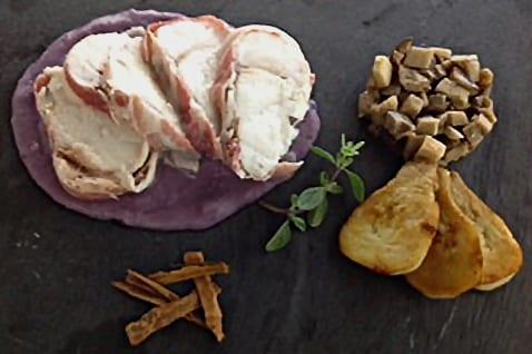 Monkfish fillet with crispy porcini mushrooms and purple potatoes