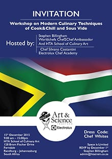 Workshop in Cook&Chill and sous-vide cooking South Africa